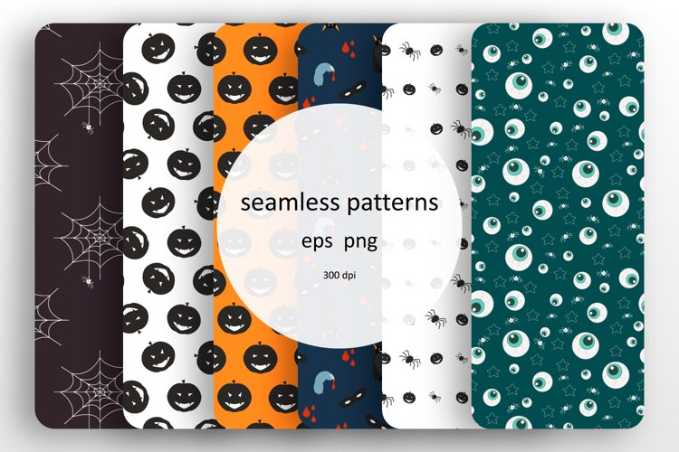 Set of 6 seamless patterns with Halloween design