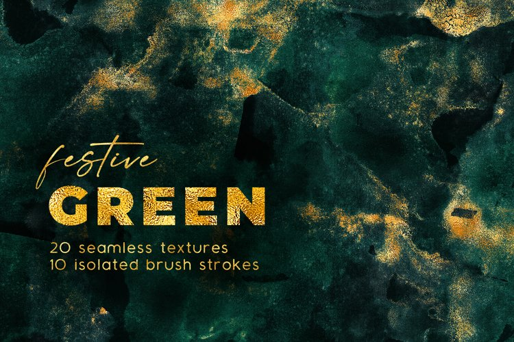Seamless Watercolor Backgrounds - Green & Gold Textures