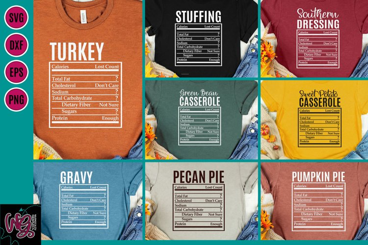 Holiday Food Funny Nutrition Bundle SVG, DXF, PNG, EPS