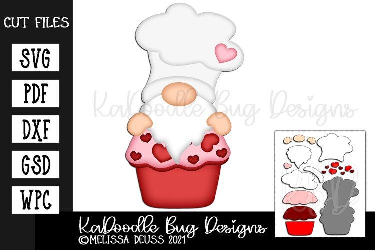 Valentine Cupcake Chef Gnome Cut File - SVG PDF DXF GSD WPC