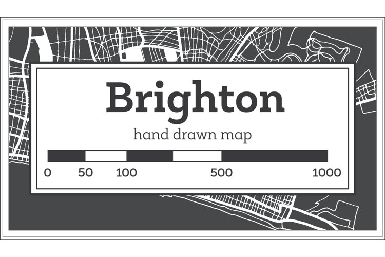 Brighton Great Britain City Map in Black and White example image 1