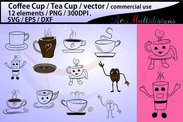 coffee svg / Tea mug / cartoon cup / coffee cup silhouette svg / tea cup silhouette / SVG / PNg / EPS / Dxf / JPG / vector / commercial use doodle example image 1
