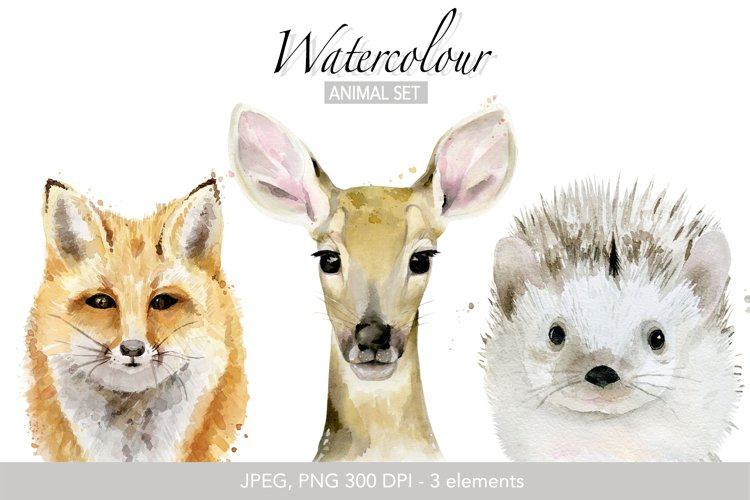 Fox png Deer head Woodland Animals watercolor Forest animals