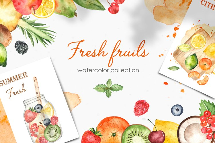 Watercolor fruits and berries. Clipart, frames, patterns