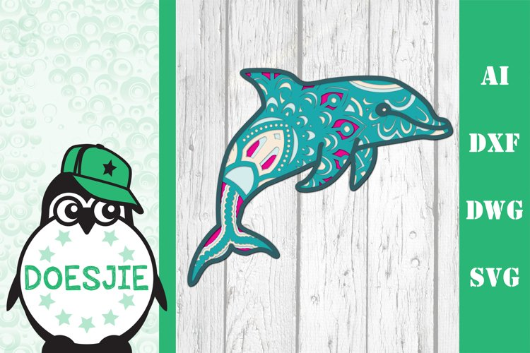 Layered Dolphin SVG multi layer mandala sea animal nautical example image 1
