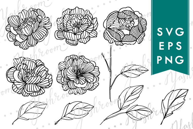 Peony Flowers Silhouette SVG Collection example image 1