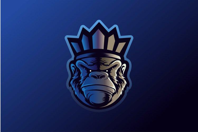 Monkey Gorilla Esport gaming mascot logo template Vector. Mo example image 1