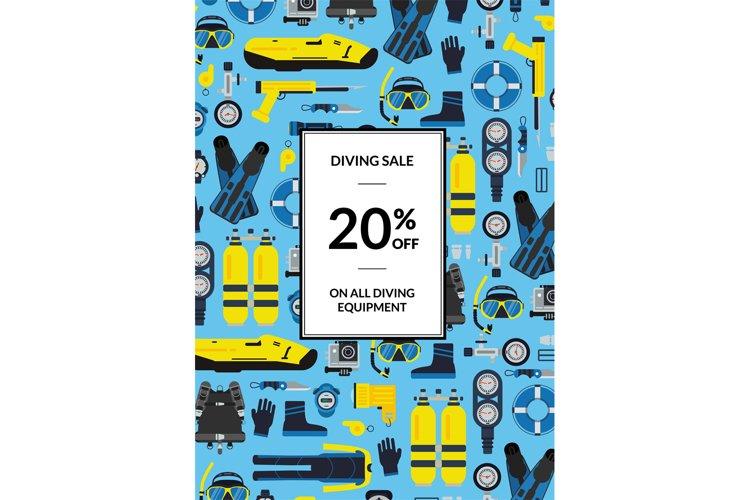 Vector underwater diving equipment sale example image 1