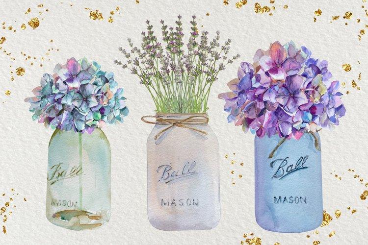 Floral Mason Jars - Watercolor Set
