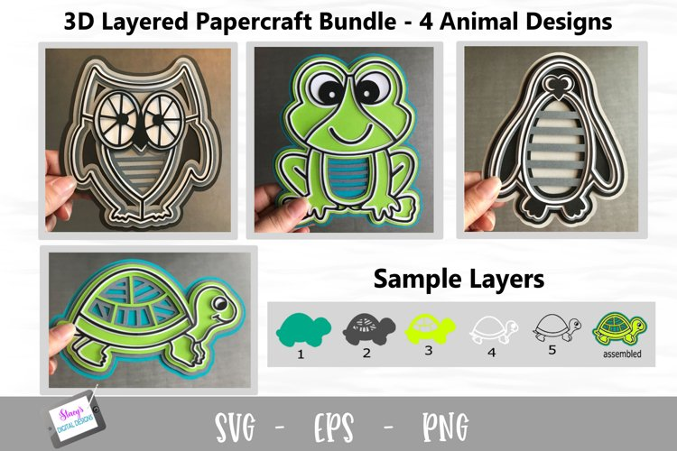 3D Layered Animal Bundle - Turtle, Owl, Frog, Penguin SVG example image 1