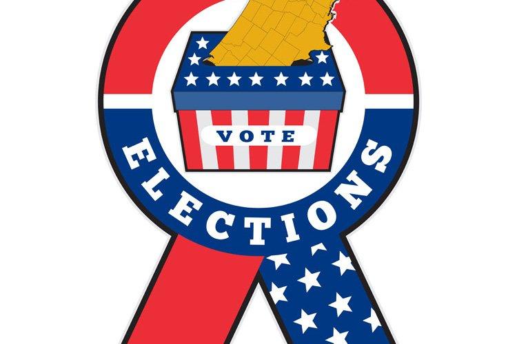 American election ballot box map of USA ribbon example image 1