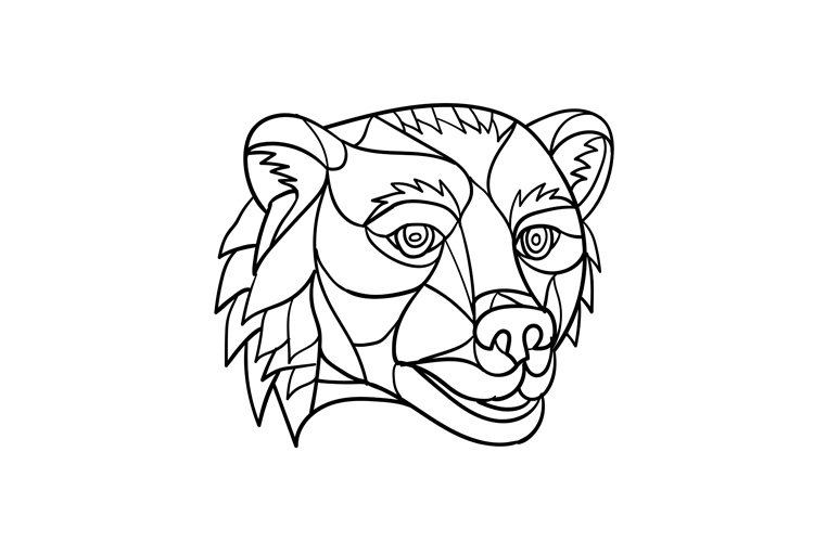 Grizzly Bear Head Mosaic Black and White example image 1
