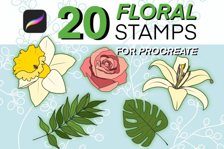 20 Procreate Floral Stamps and Brushes Set, Flowers, Leaves