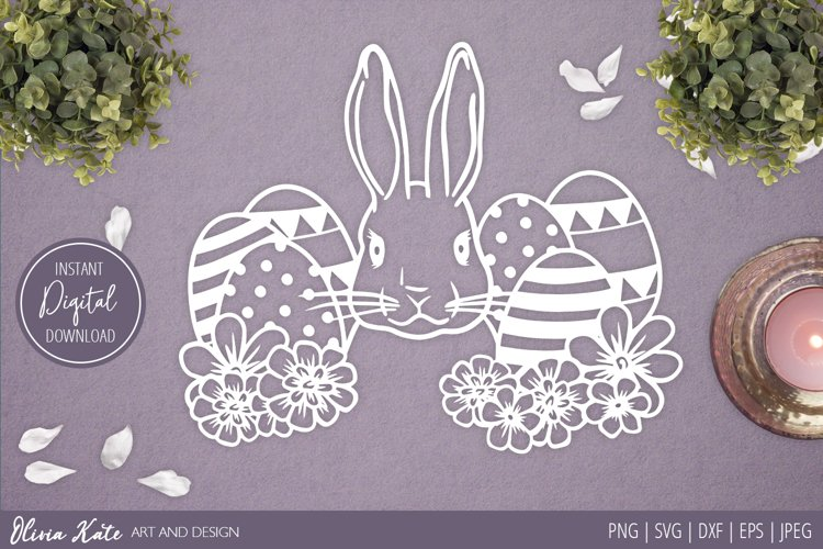 SVG / PNG / DXF/ EPS / JPEG Easter Bunny and Eggs Design