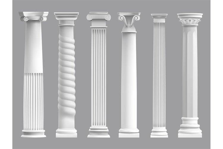 Antique greek pillars. Greek ancient column, historic roman example image 1
