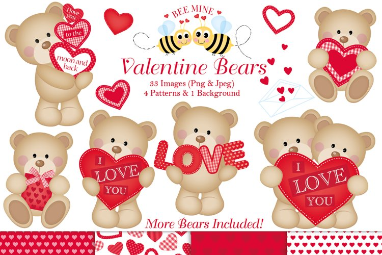 Valentine clipart, Valentine bear graphics & illustrations example image 1