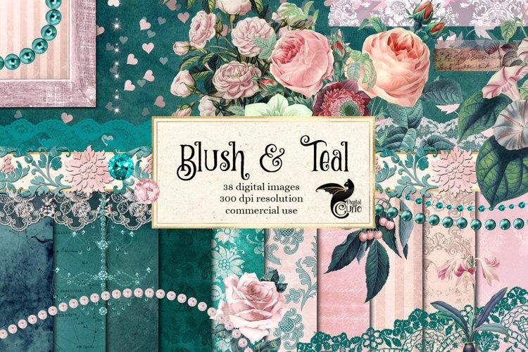 Blush & Teal Digital Scrapbooking Kit example image 1