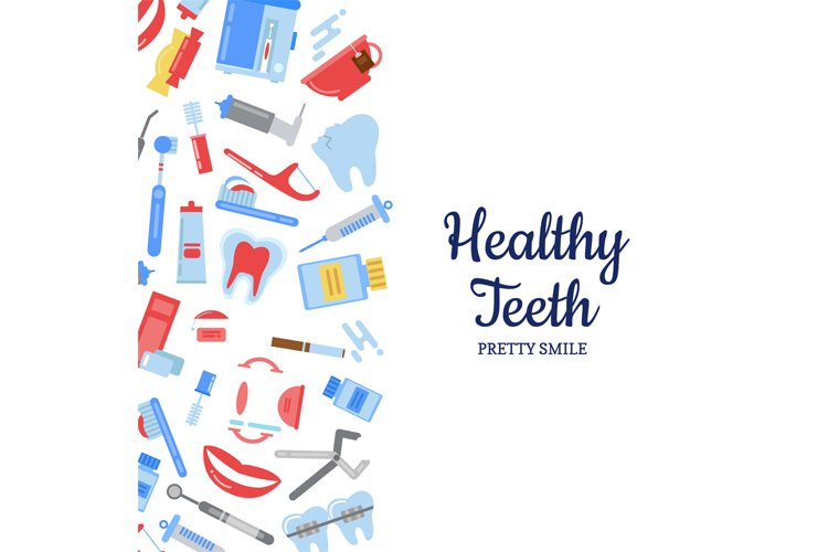 Vector flat style teeth hygiene background example image 1