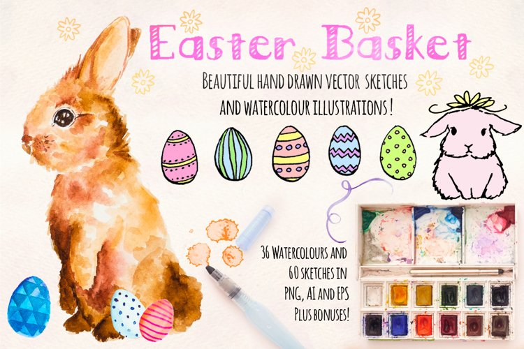 Easter Bunny Watercolor Painted Graphics Kit