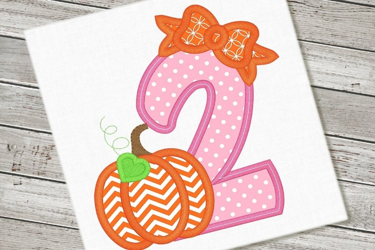 Pumpkin Bow Two Applique Embroidery Design 1158