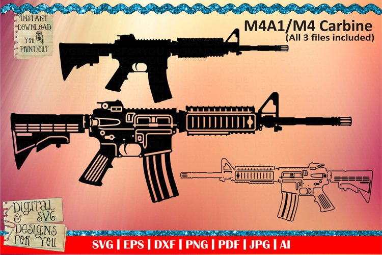 Army rifle svg, M4A1 cut file, gun svg, M4 svg, rifle svg