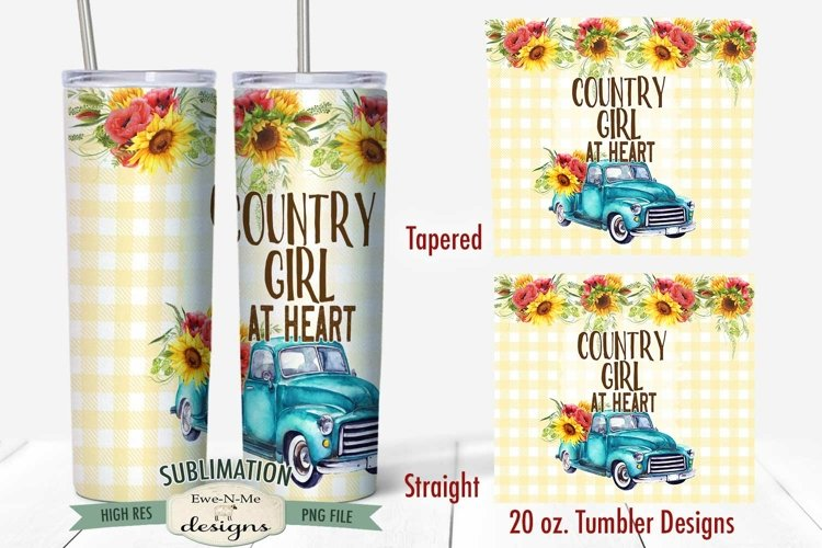 20 oz Skinny Tumbler Sublimation | Country Girl | Blue Truck