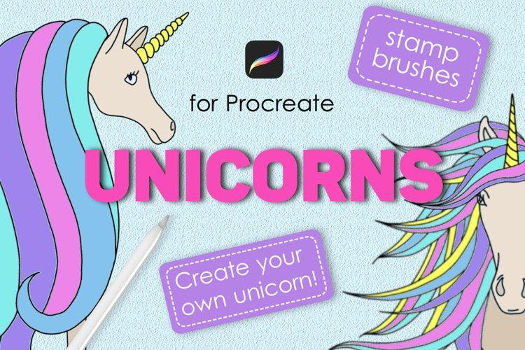 Unicorn procreate stamp brushes example image 1