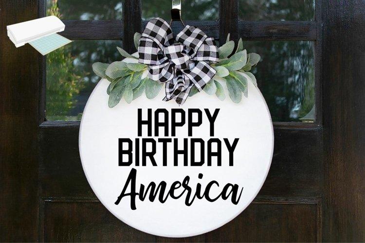 Happy Birthday America Wood Round Sign - SVG Cut File