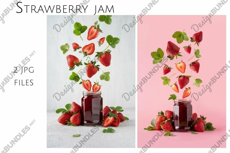 Strawberry jam in glass jar and falling pieces of strawberry