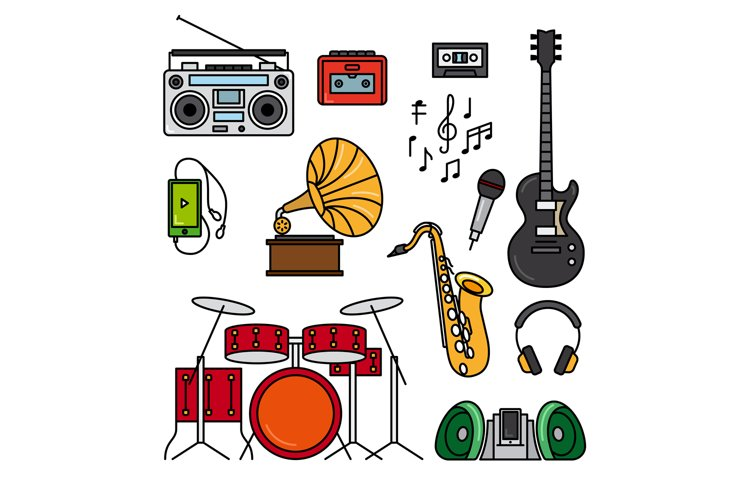 Music and musical instruments line icons example image 1