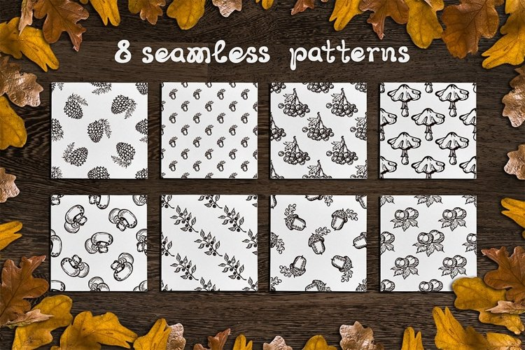 8 fall patterns & textures | SVG EPS AI JPEG PNG PSD example image 1