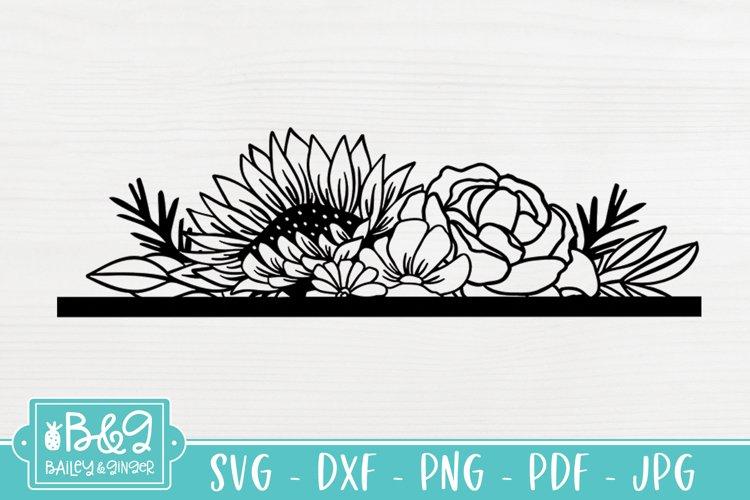 Floral SVG Header - Sunflower SVG - Line Art Flowers example image 1