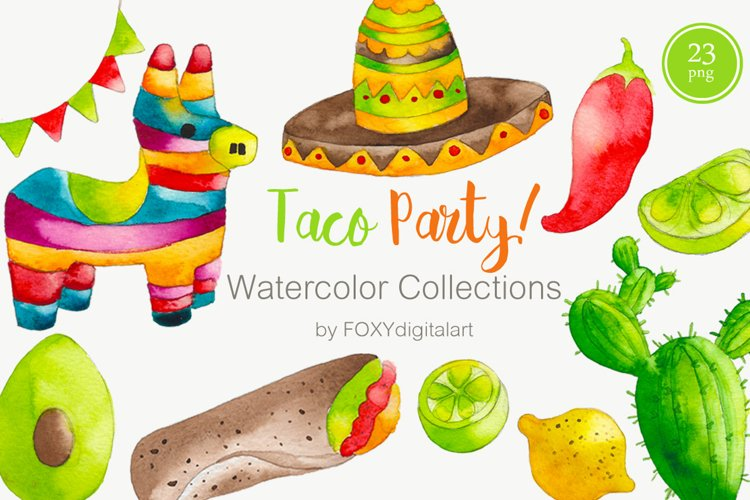 Watercolor Taco Party Mexican Food Clipart example image 1