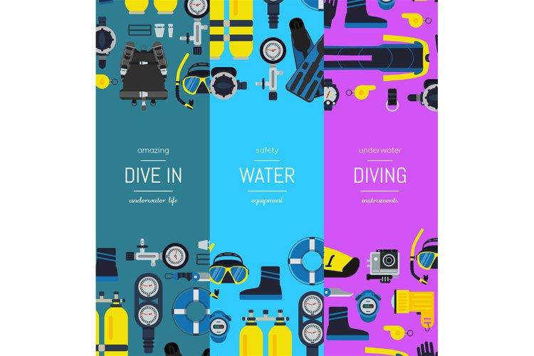 Vector underwater diving vertical banner templates example image 1