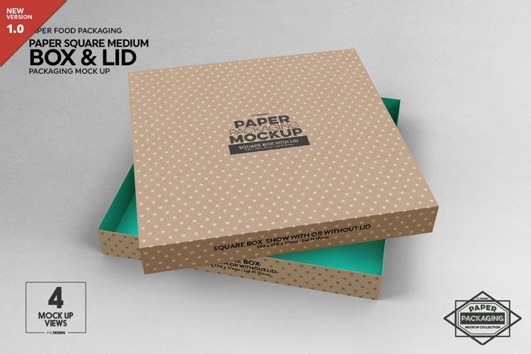 Medium Square Paper Box and Lid Packaging Mockup example image 1