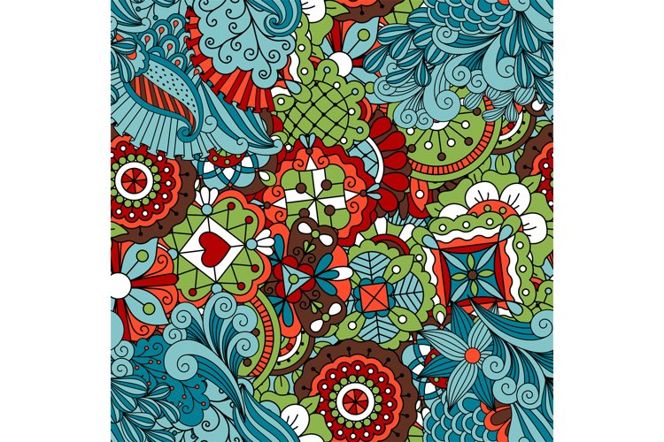 Full frame seamless floral pattern colored green example image 1