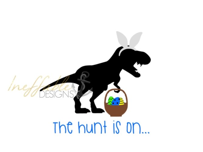 Boys Dinosaur the hunt is on Easter graphic/tee/cut file