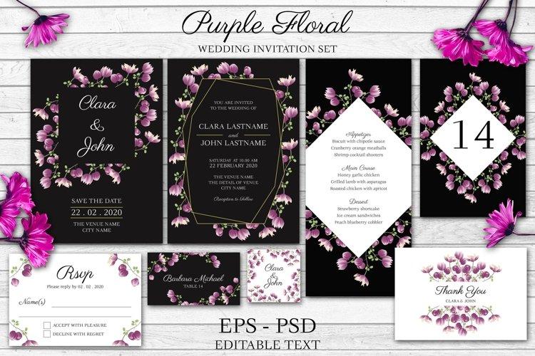 Purple Floral Wedding Invitation Set example image 1