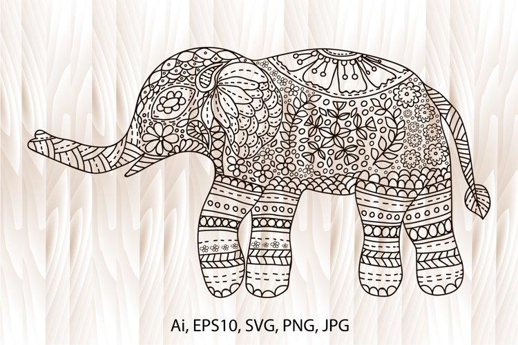 Elephant mandala, elephant coloring page, hand-drawn example image 1