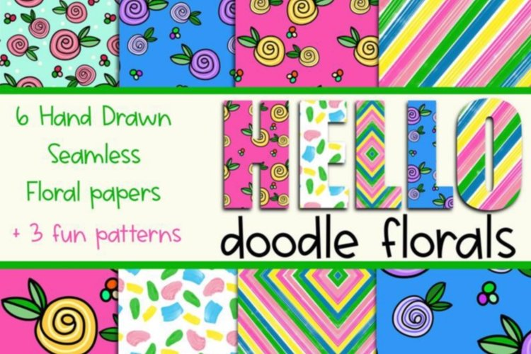 Hello Doodle Florals Seamless Digital Papers example image 1