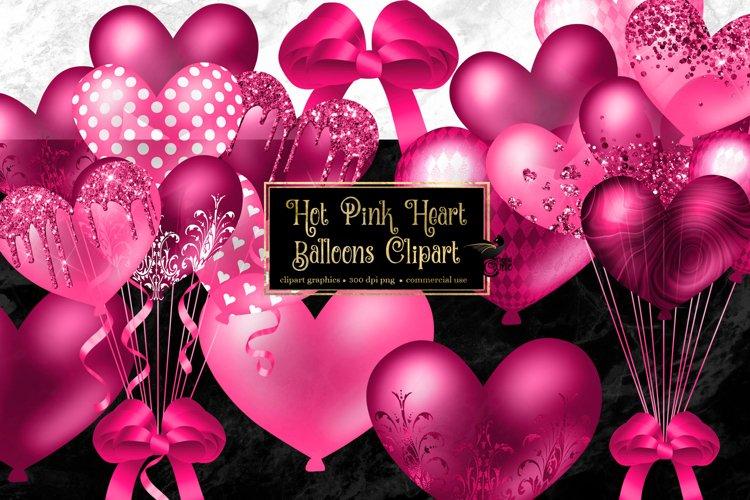 Hot Pink Heart Balloons Clipart