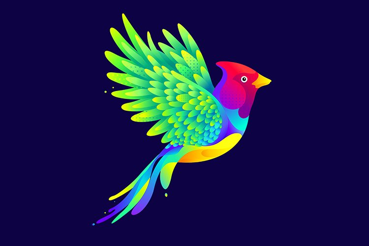 Colorful flying bird illustration example image 1