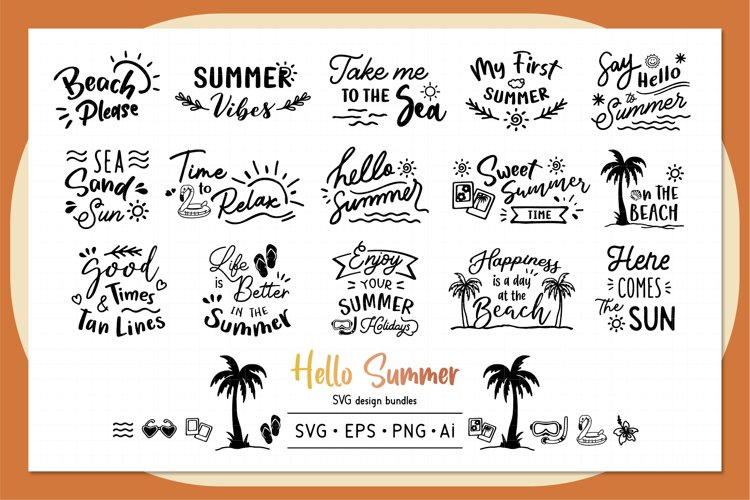 Hello Summer SVG design bundles example image 1
