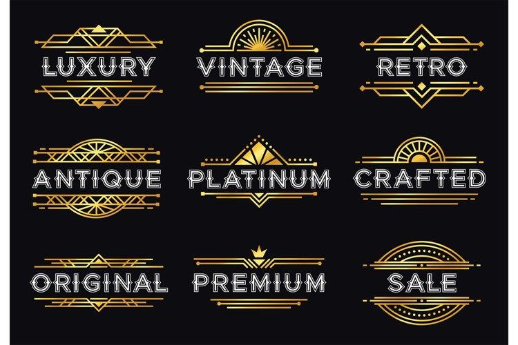Art deco label. Retro luxury geometric ornaments, vintage or example image 1