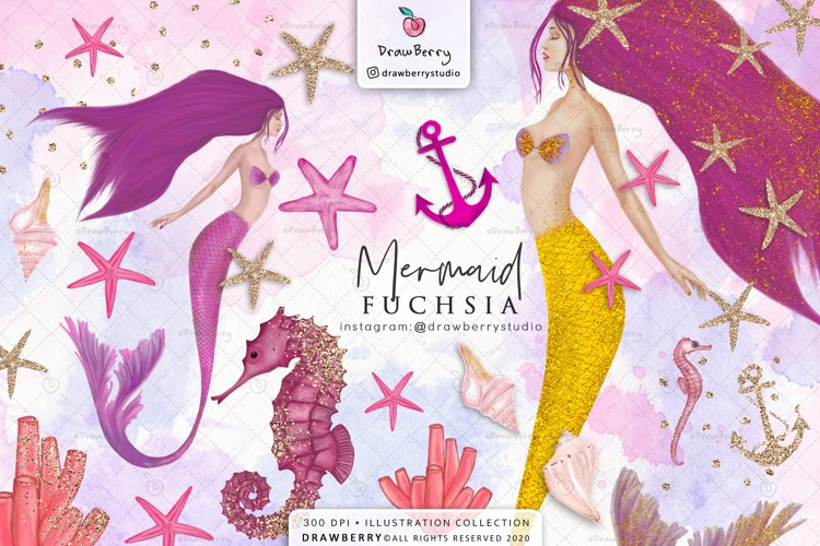 Pink Mermaid Clipart Glam Undet the Sea | Drawberry CP019 example image 1