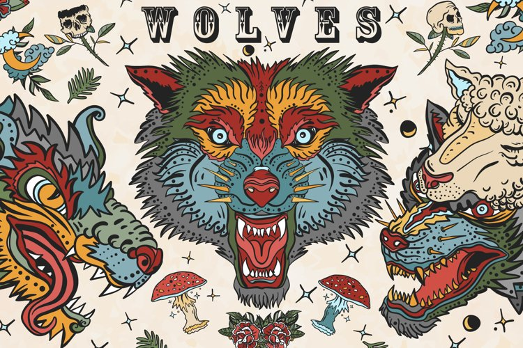 Wolves old school tattoo example image 1
