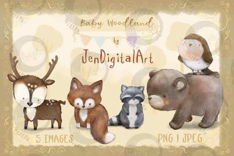 Baby Woodland   5 animal illustrations   PNG/JPEG clip art example image 1