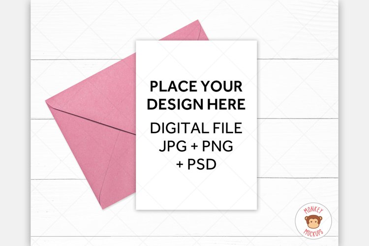 5x7 Greeting Card Mockup - Pink Envelope Invitation Mock Up example image 1