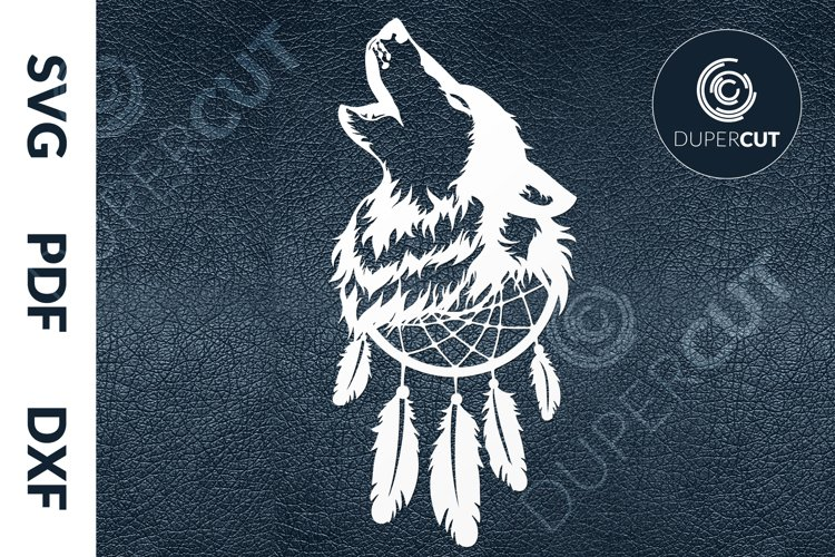 SVG / PDF / DXF Howling Wolf, Papercutting Template