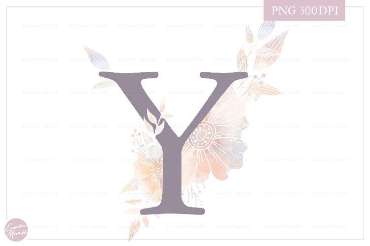Letter Y Floral MONOGRAM - elegant wedding flower initial